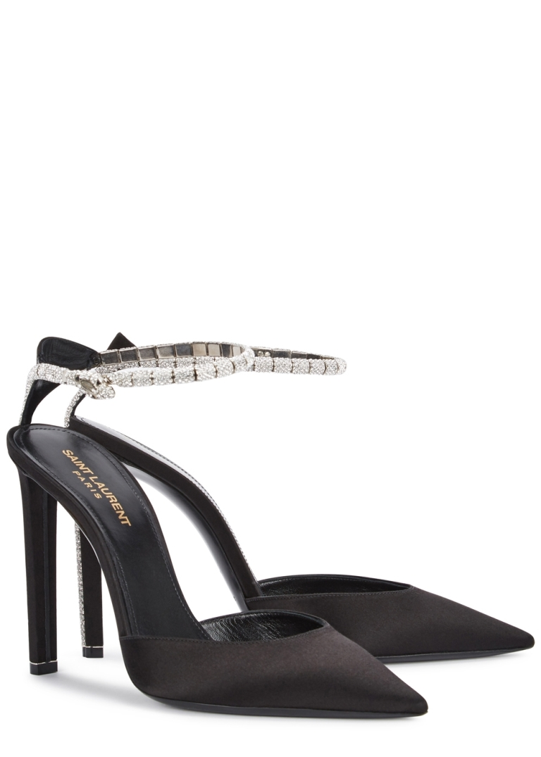 Saint Laurent Kate Swarovski-embellished satin pumps