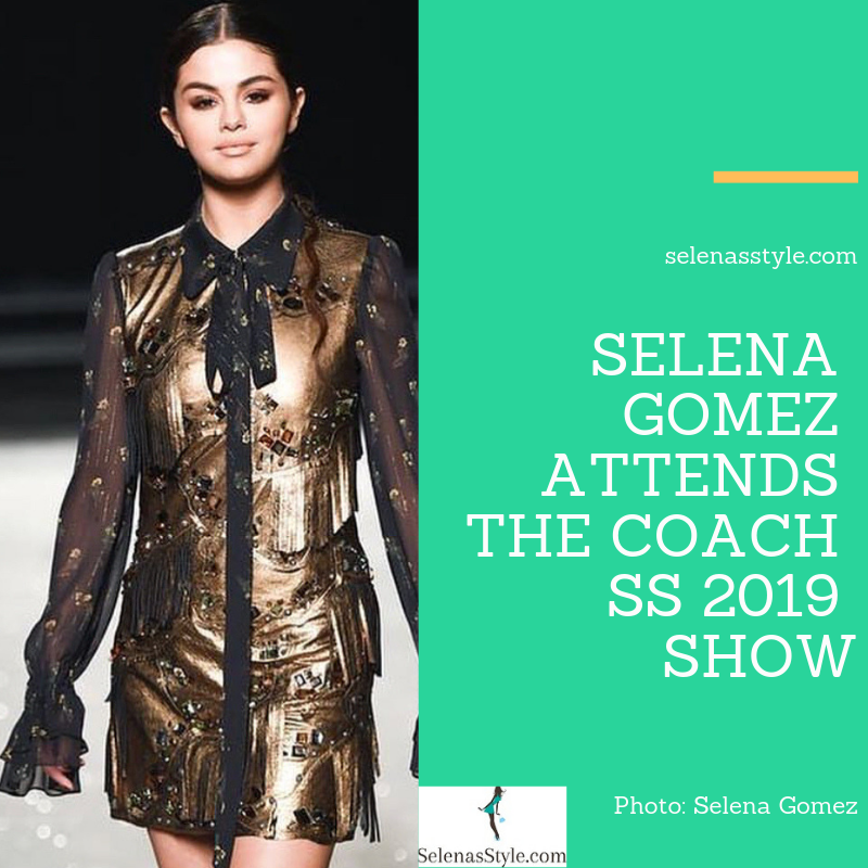 Selena Gomez style blog gold and black dress red velvet sandals September 2018