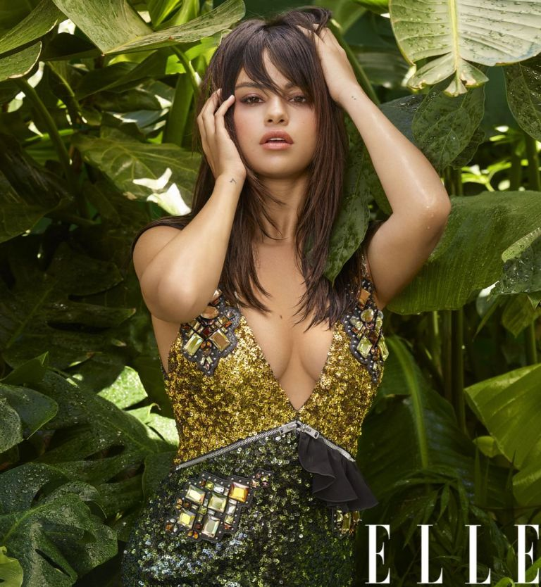 Selena Gomez style blog gold black and green sequin dress Elle October 2018