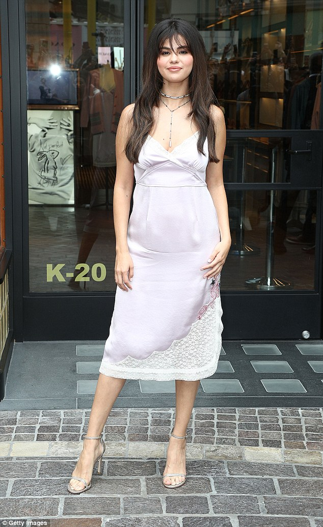 Selena gomez style blog lilac satin and lace slip dress silver sandals Coach Pop Up Launch September 2018