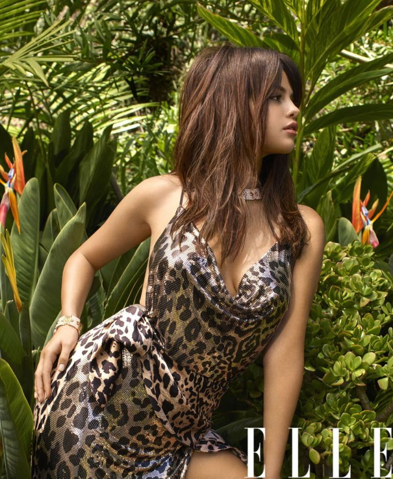 Selena Gomez style blog metallic leopard print dress elle October 2018