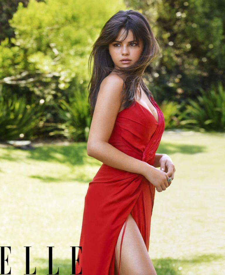 Selena Gomez style red wrap dress Elle October 2018