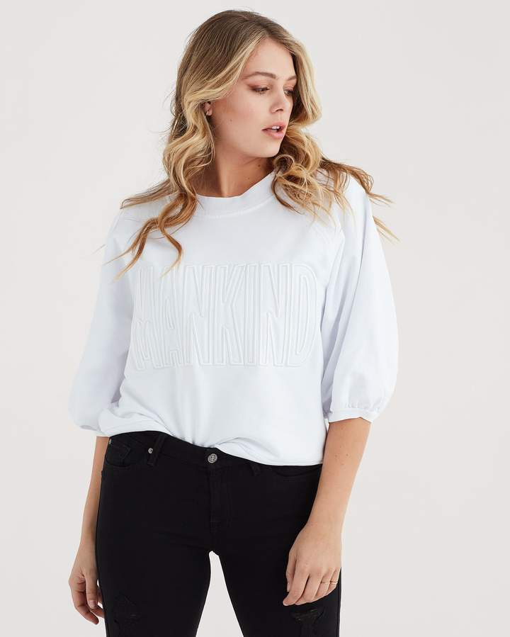 7 For All Mankind Mankind Crewneck Sweatshirt with 34 Puff Sleeve and Embroidery in White