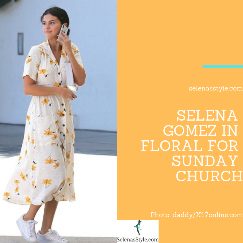 Selena Gomez style blog white and yellow floral midi shirt dress white sneakers September 2018 photo daddy X17online com