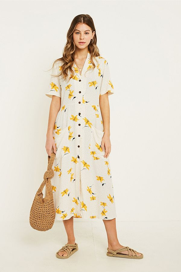 Urban Outfitters Floral Dot Midi Shirt Dress