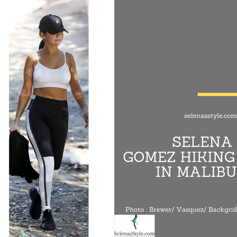where to get Selena Gomez style black and white leggings black Puma trainers Malibu December 2018