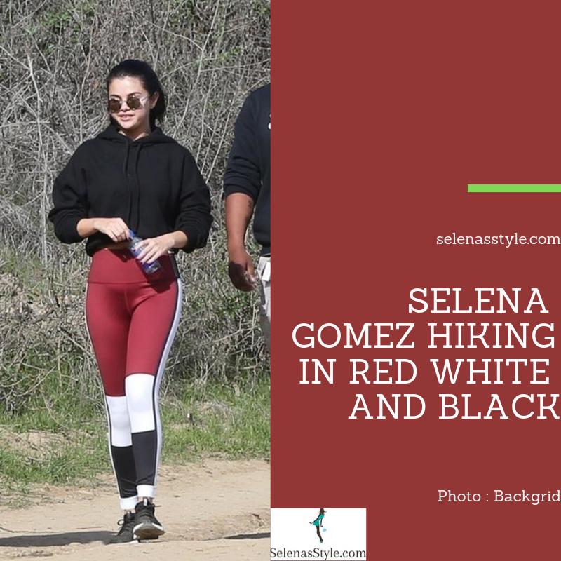 217309786cab Selena Gomez Hiking in Red White and Black – Selena Gomez Style Blog