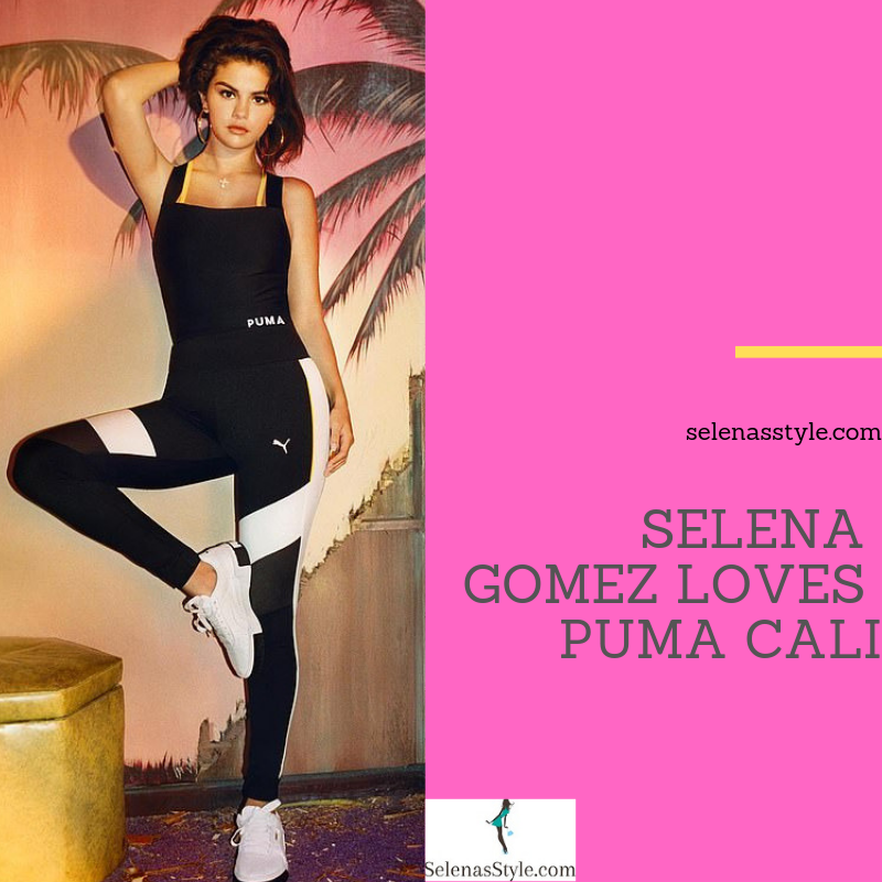 Where to get Selena Gomez black white yellow crop top leggings Cali sneakers November 2018