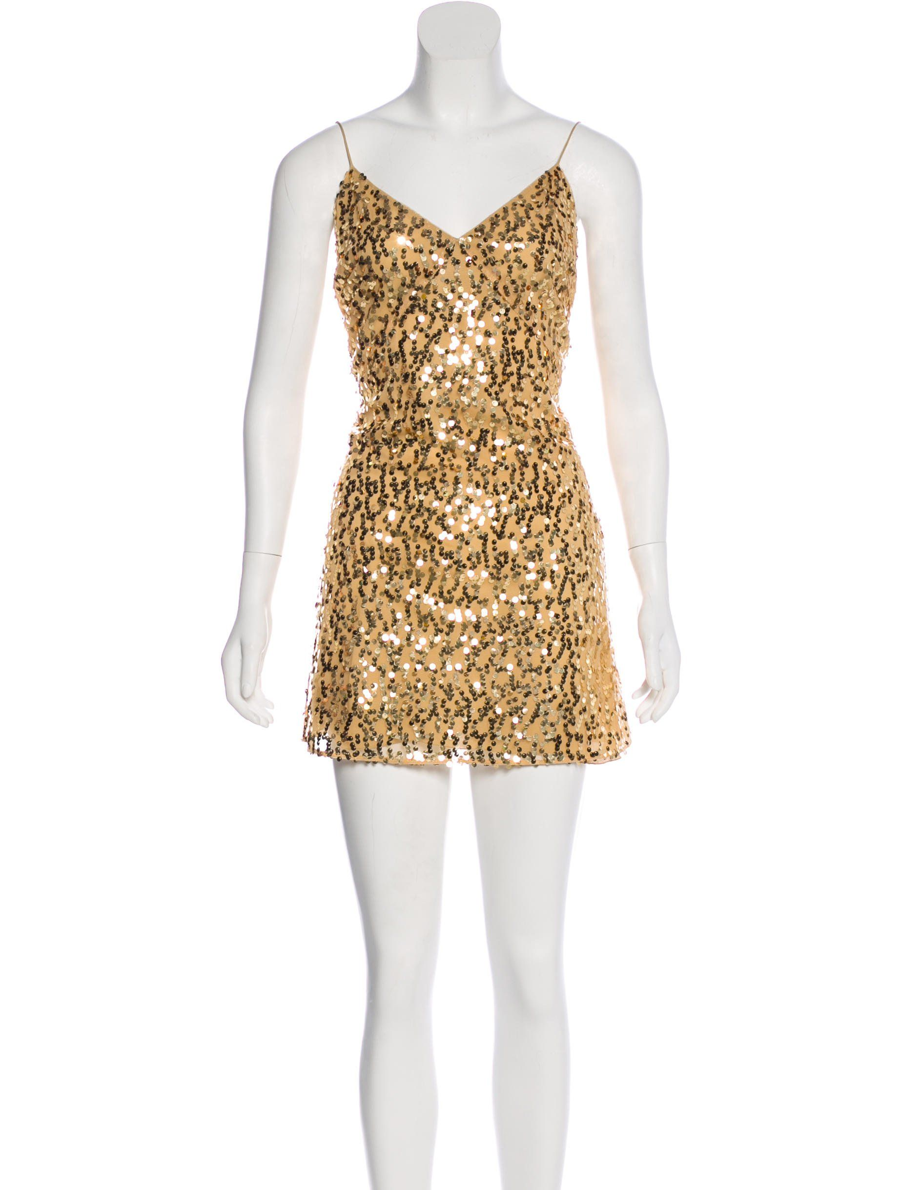 saint laurent gold sequin mini dress