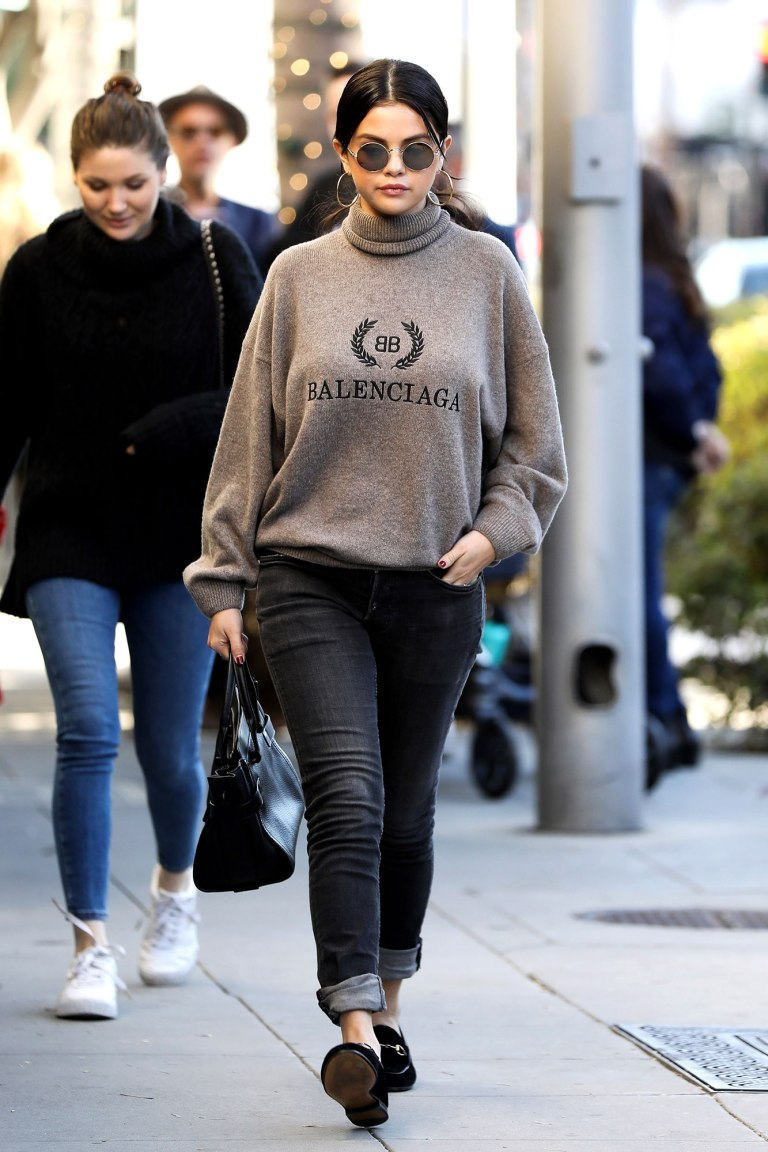 where to get Selena gomez grey Balenciaga sweater black jeans black loafers Sunday 30 December 2018