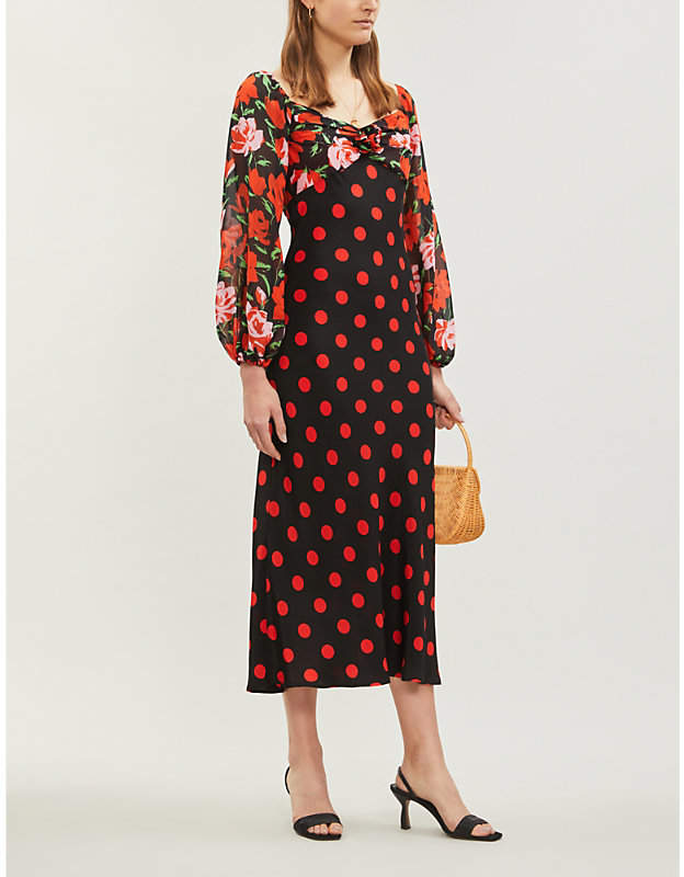 RIXO Josephine silk midi dress