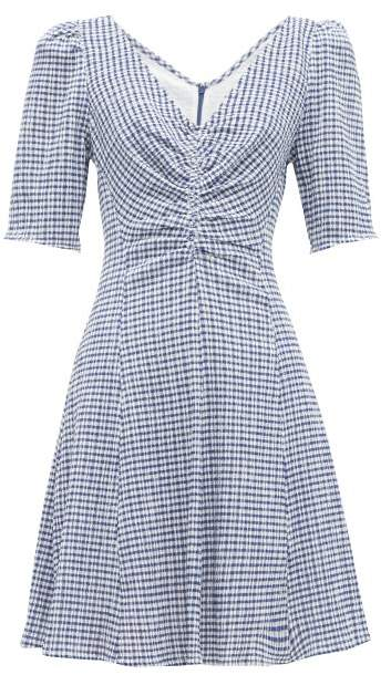 Staud Gingham Seersucker Mini Dress