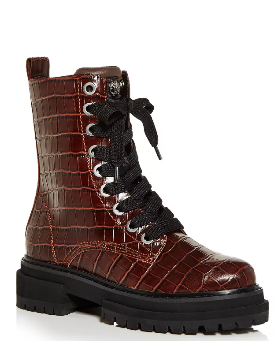 Kurt Geiger London Women's Siva Croc Print Leather Lace Up Boots. medium red