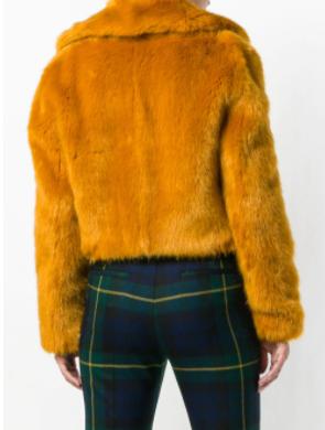 Michael Kors cropped faux-fur jacket back view
