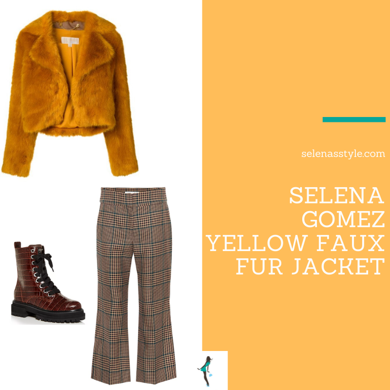 Where to get Selena Gomez putfits December 2020 blog orange yellow cropped faux fur jacket plaid pants red combat booots on the set of Only Murders In The Building