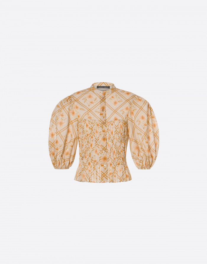Alberta Ferretti Hibiscus Cage Muslin Shirt