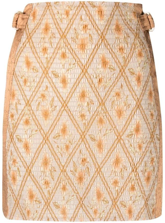 Alberta FerrettiHibiscus cage straight skirt