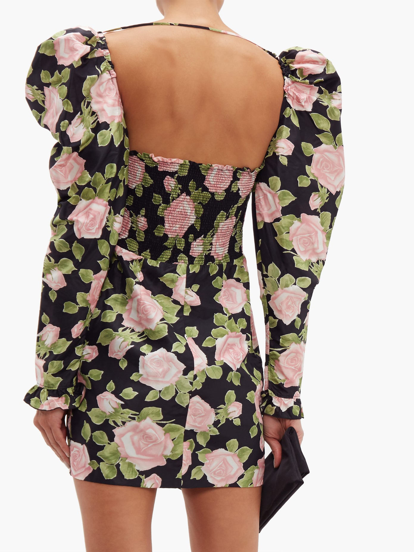 Alessandra Rich Short Silk Dress With Rose Print back view