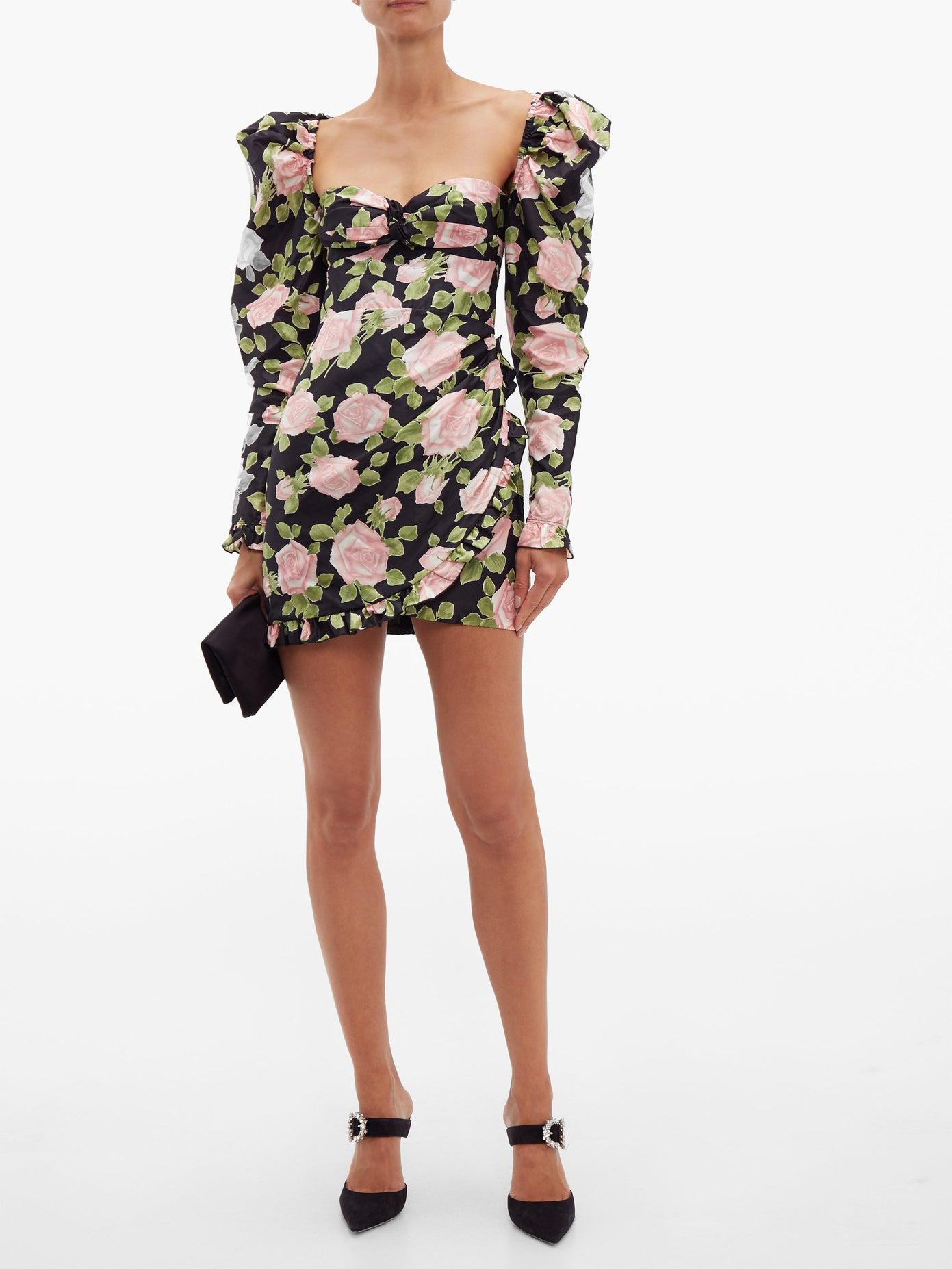 Alessandra Rich Short Silk Dress With Rose Print v2