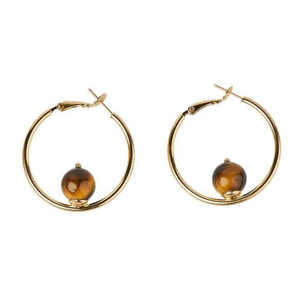 D'Estree Mini Sonia Hoop Tiger Eye Earrings