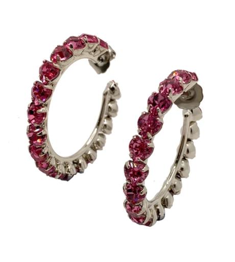 HVN Small Pink Heart Shaped Crystal Hoop Earrings