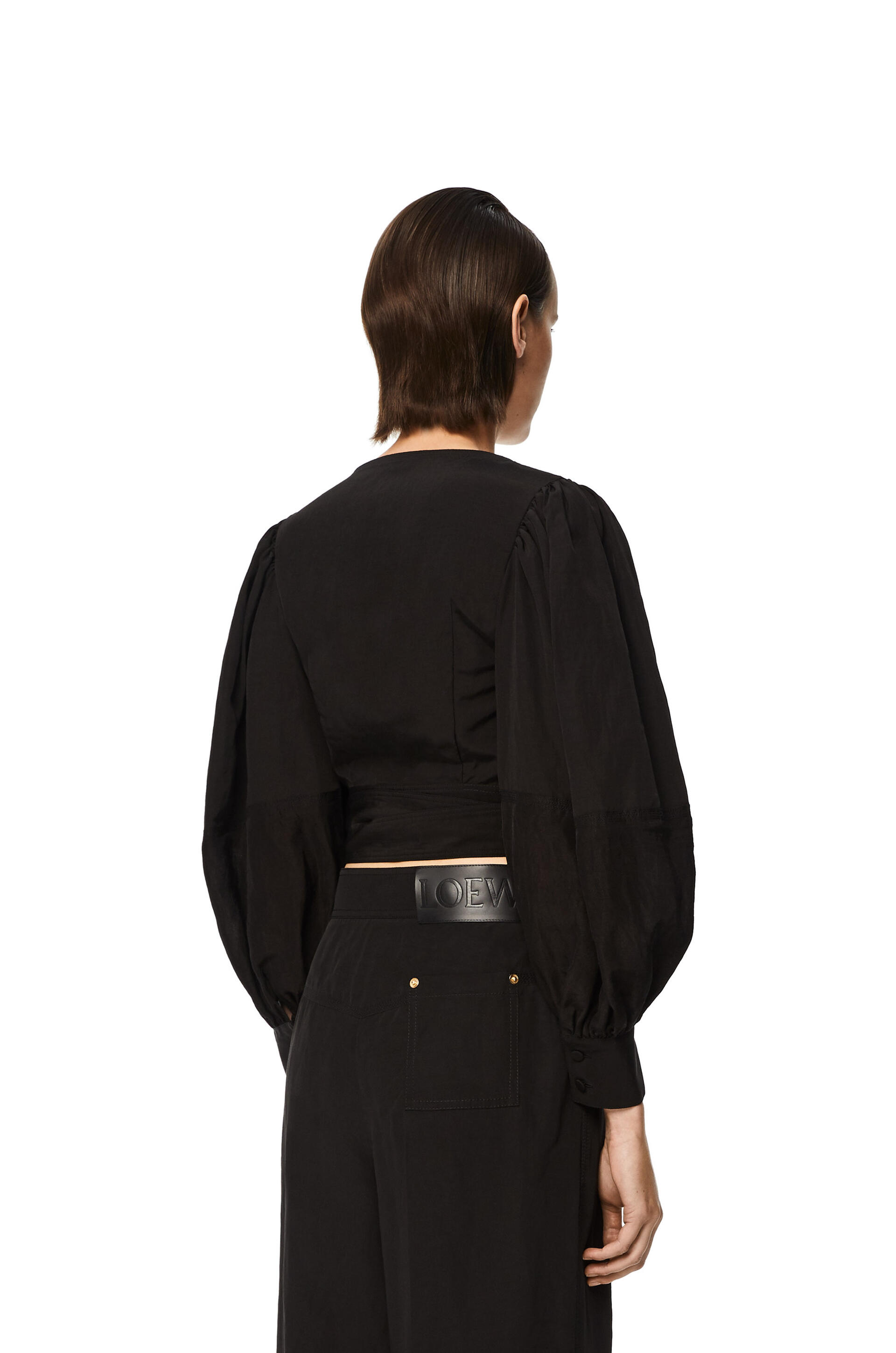 Loewe Balloon sleeve wrap top in linen back view