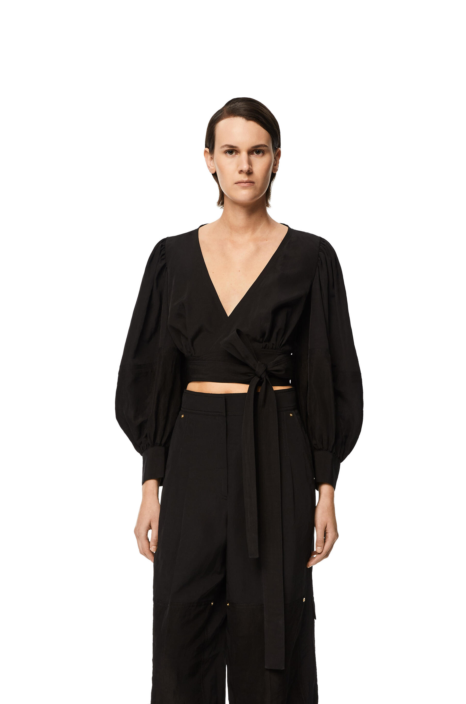 Loewe Balloon sleeve wrap top in linen
