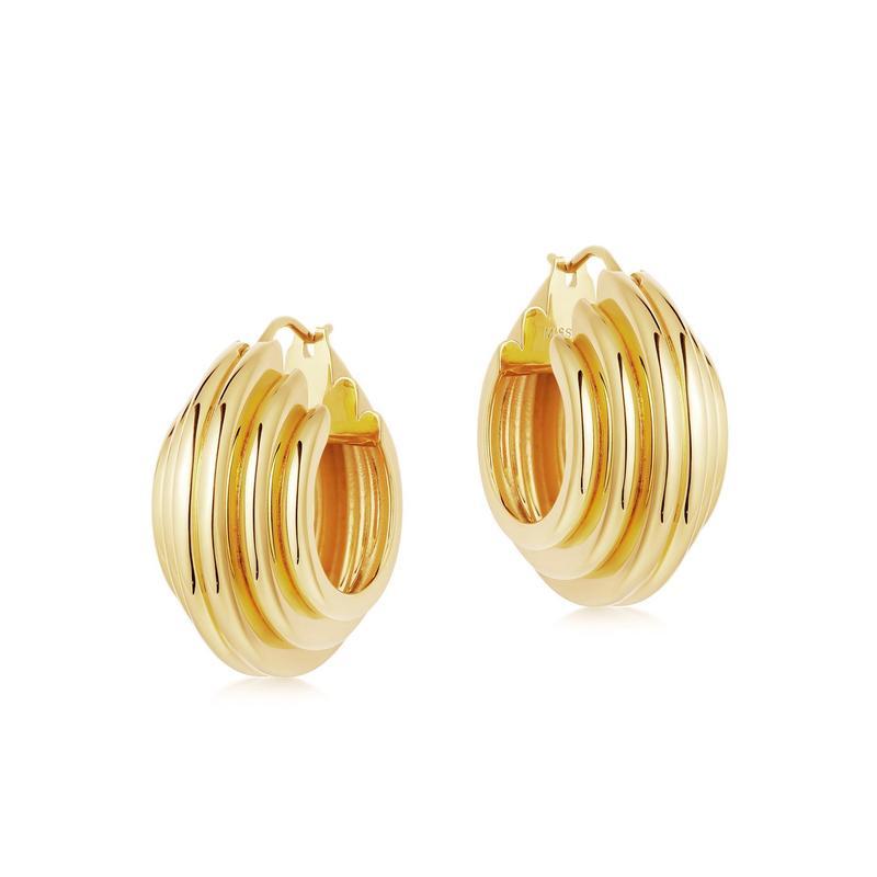 Lucy Williams gold medium ridge hoop earrings