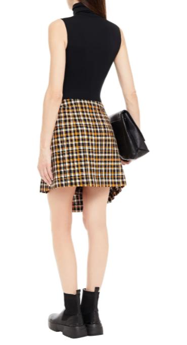 mcq-alexander-mcqueen-asymmetric-pleated-cotton-tweed-mini-wrap-skirt back view