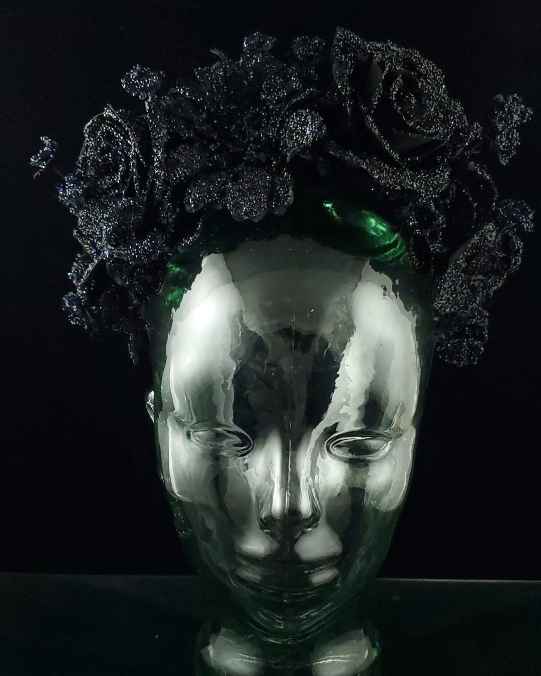 Michael Scmidt black floral headdress