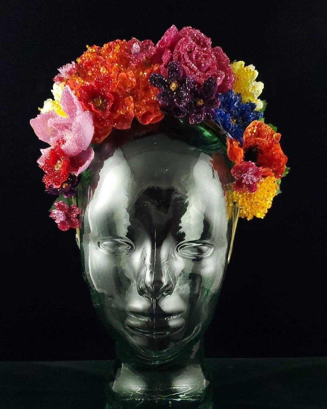 Michael Scmidt colour floral headdress