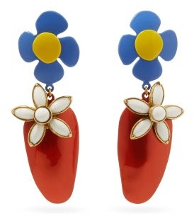 Saint Laurent Resin Flower Clip Earrings