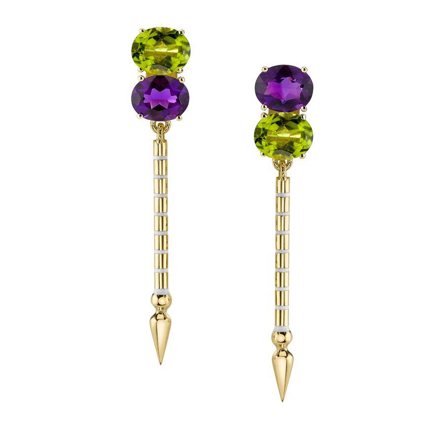 Sarah Hendler Double Gemstone Shirley Spear Earrings