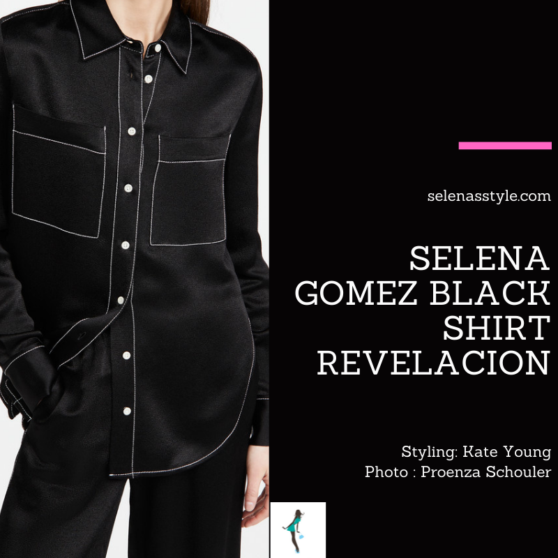 Where to get Selena Gomez outfits January 2021 blog black shirt white stitching black hat with peonies and orange ribbon REVELACION album