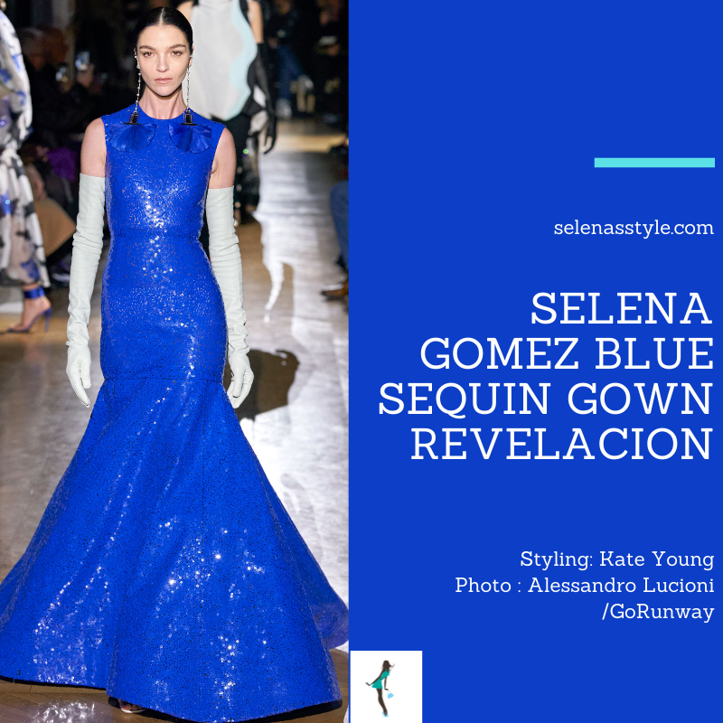 Where to get Selena Gomez outfits January 2021 blog blue sequin gown blue elbow lenght gloves REVELACION album