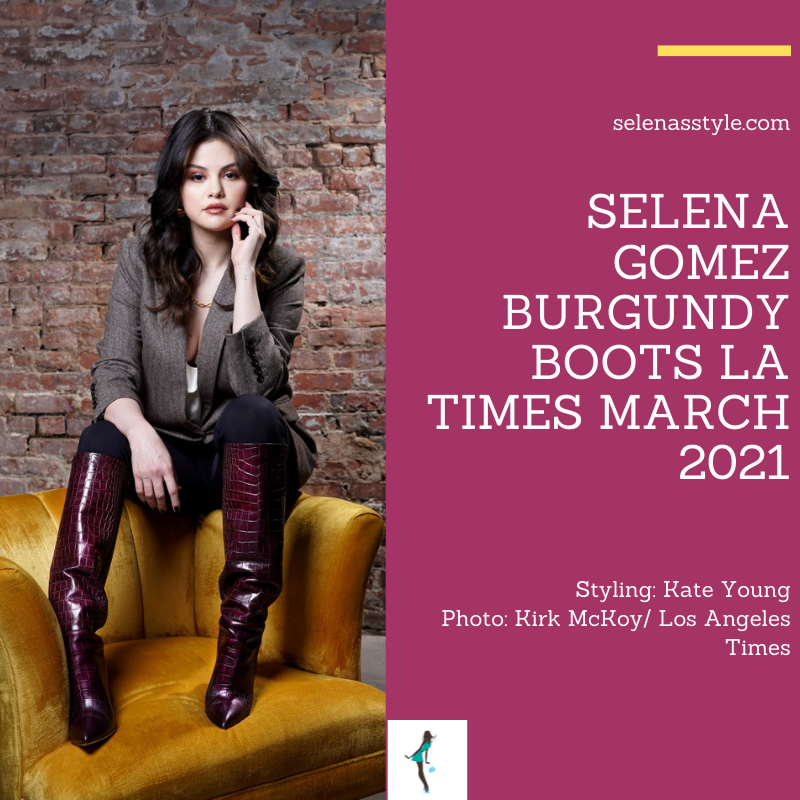 Where to get Selena Gomez outfits March 2021 blog burgundy croc stiletto boots LA Times herringbone blazer gold chain necklace
