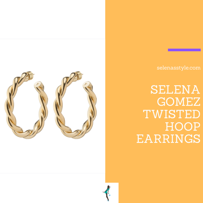 Where to get Selena Gomez outfits March 2021 blog twisted gold hoop earrings