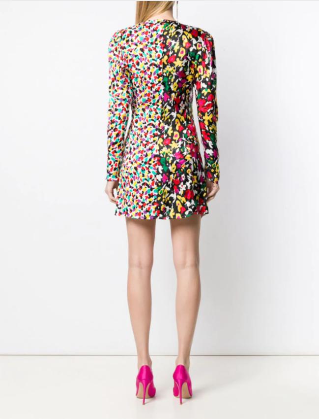 The Attico Mixed-Print Wrap Dress back view