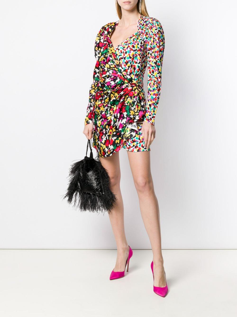 The Attico Mixed-Print Wrap Dress