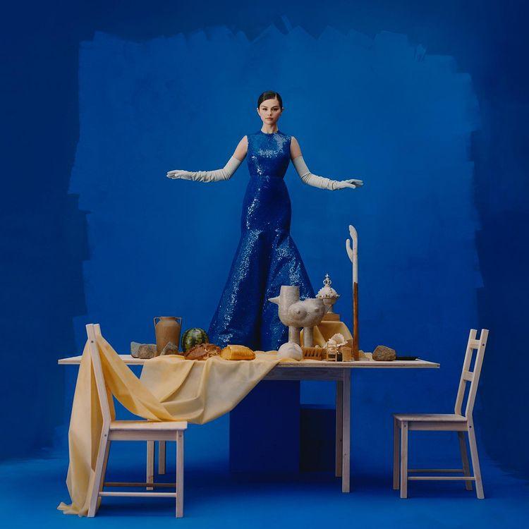 where to get Selena Gomez blue sequin gown blue elbow length gloves REVELACION Photo Camila Falquez