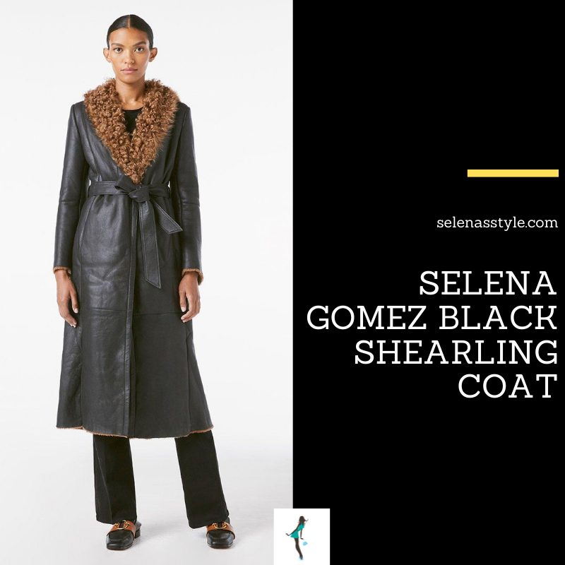 Where to get Selena Gomez outfits April 2021 blog black shearling coat over the knee suede boots blonde hair