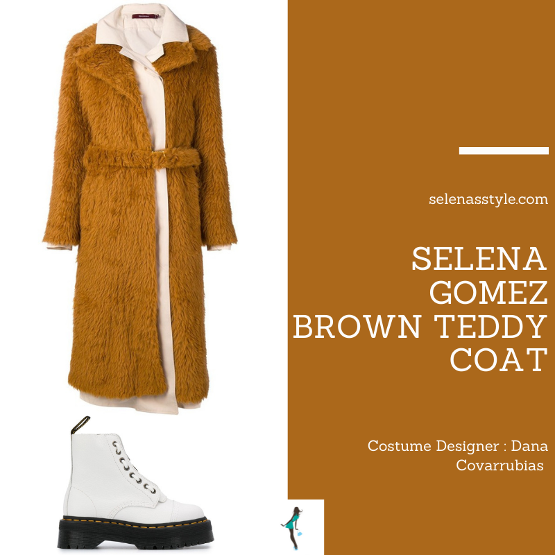 Where to get Selena Gomez outfits March 2021 blog brown teddy coat white platform boots on the set of Only Murders In The Building