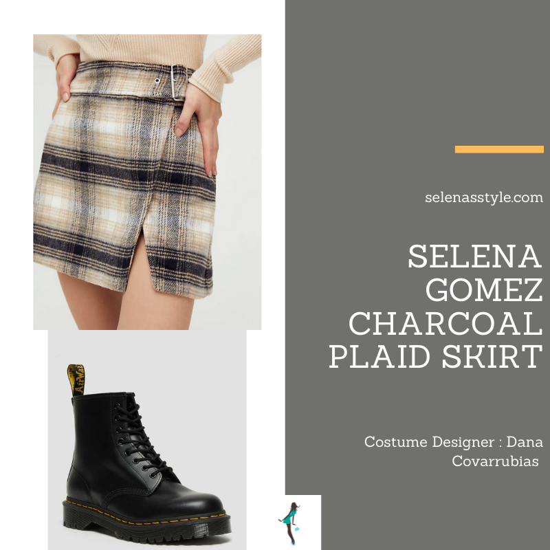 Where to get Selena Gomez outfits April 2021 blog black white plaid skirt black platform ankle boots on the set of Only Murders In The Building
