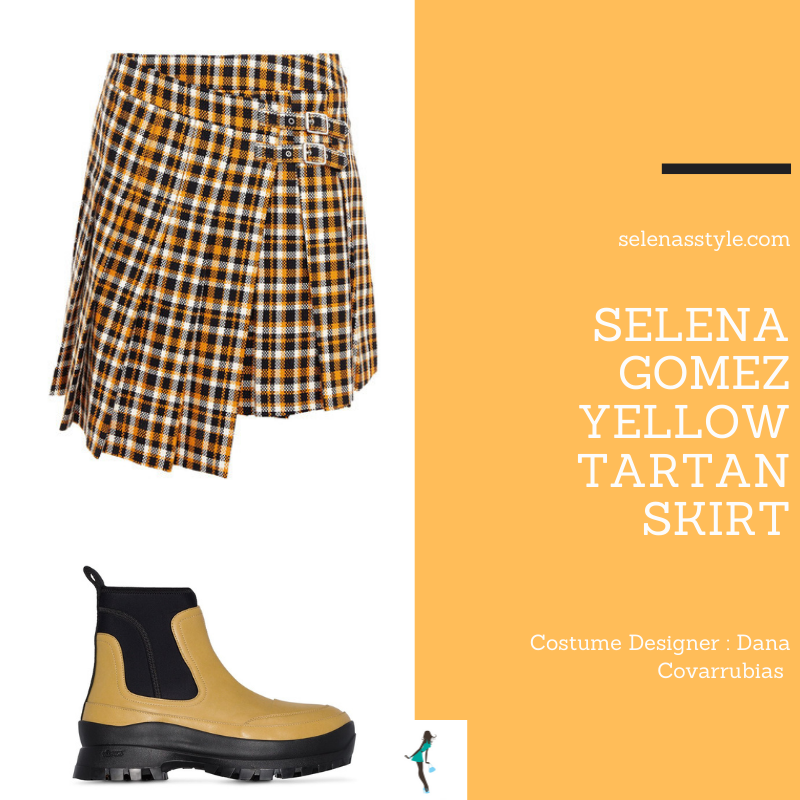 Where to get Selena Gomez outfits March 2021 blog yellow tartan skirt beige teddy coat yellow green boots on the set of Only Murders In The Building