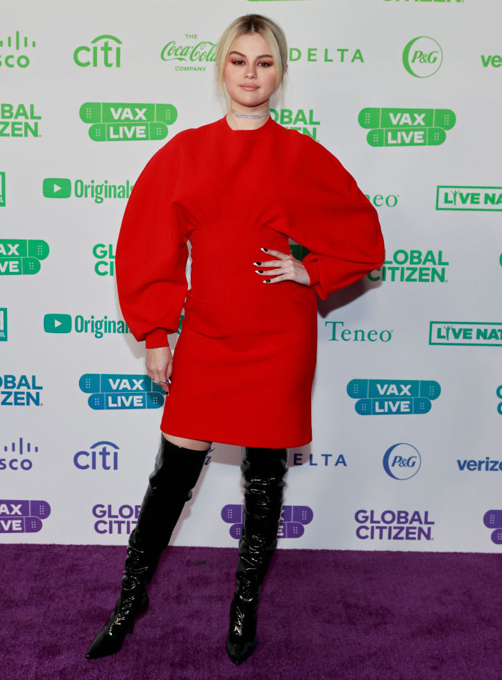 where to get Selena Gomez red dress knee high boots Vax Live 2 May 2021