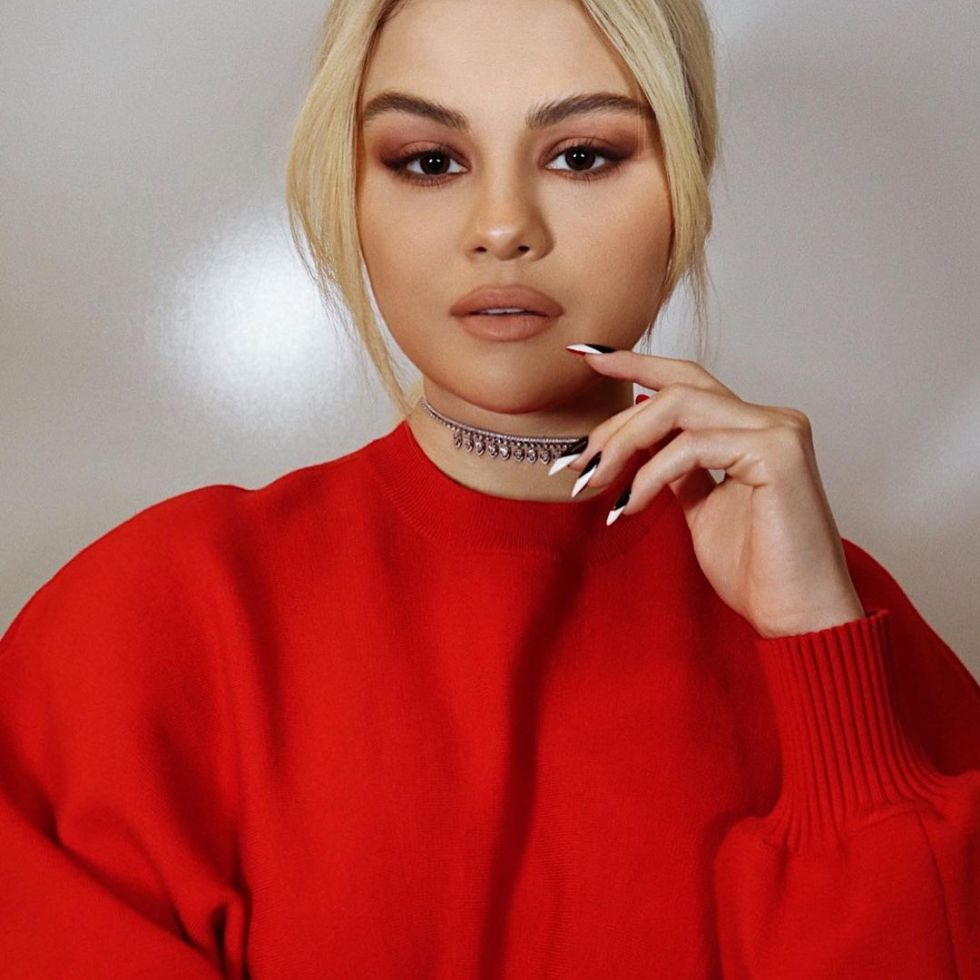 where to get Selena gomez red dress diamond necklace VAX Live 2 May 2021 Photo Hung Vanngo