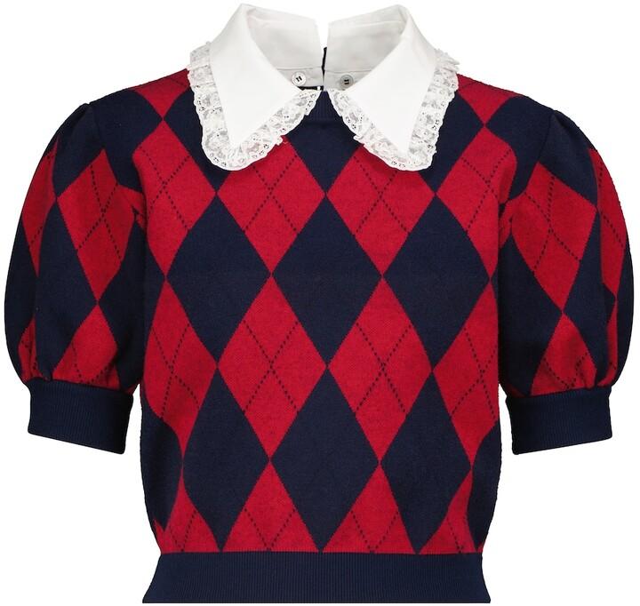 Alessandra Rich Argyle Short-Sleeve Sweater
