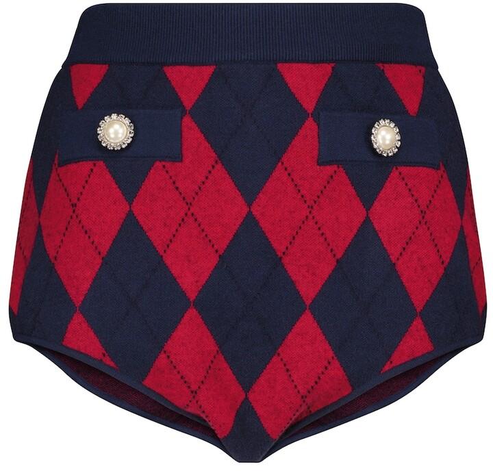 Alessandra Rich High-Rise Argyle Knit Shorts