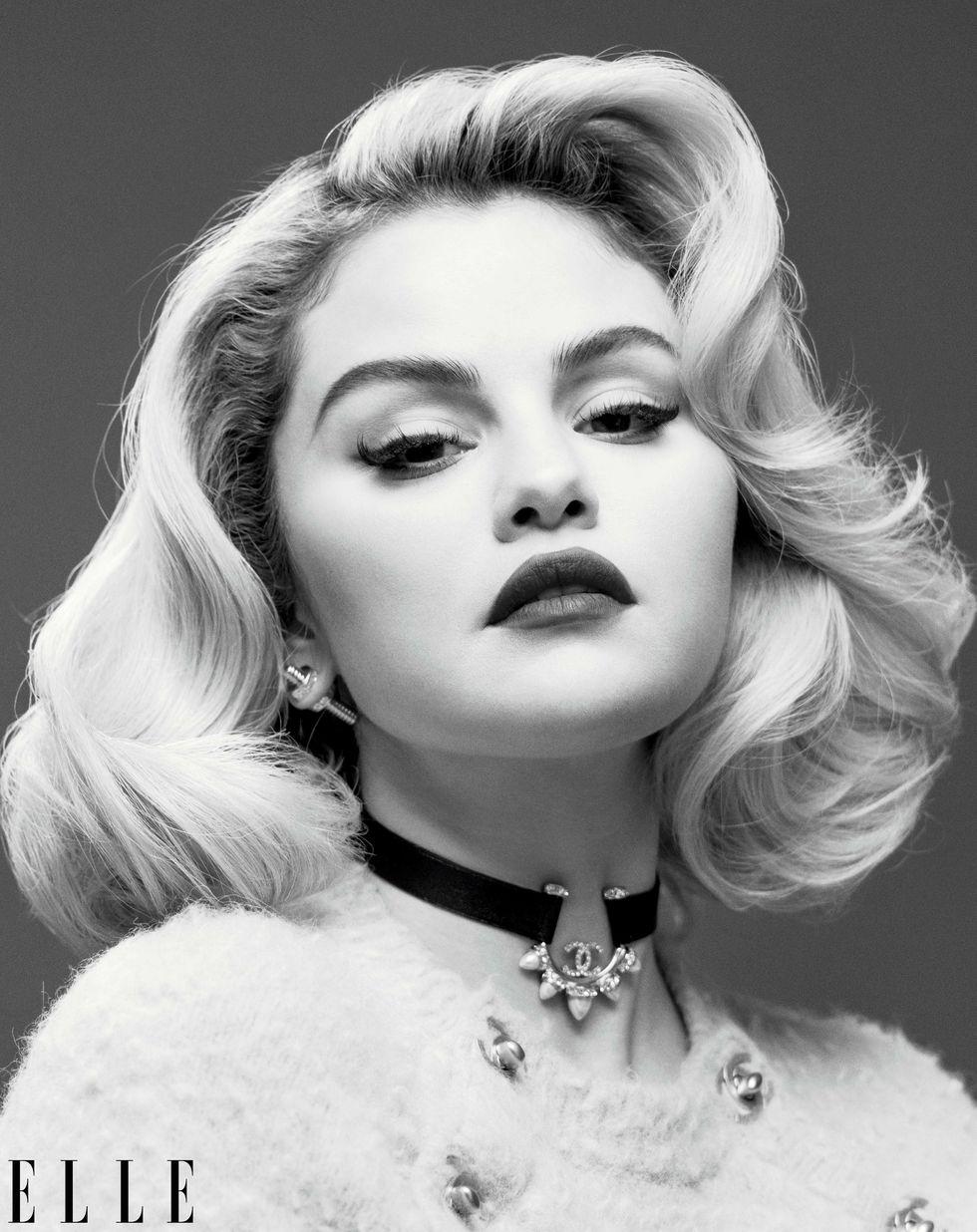 where to get Selena Gomez Elle September 2021 fluffy sweater mesh skirt choker bow shoes Photo INEZ & VINOODH