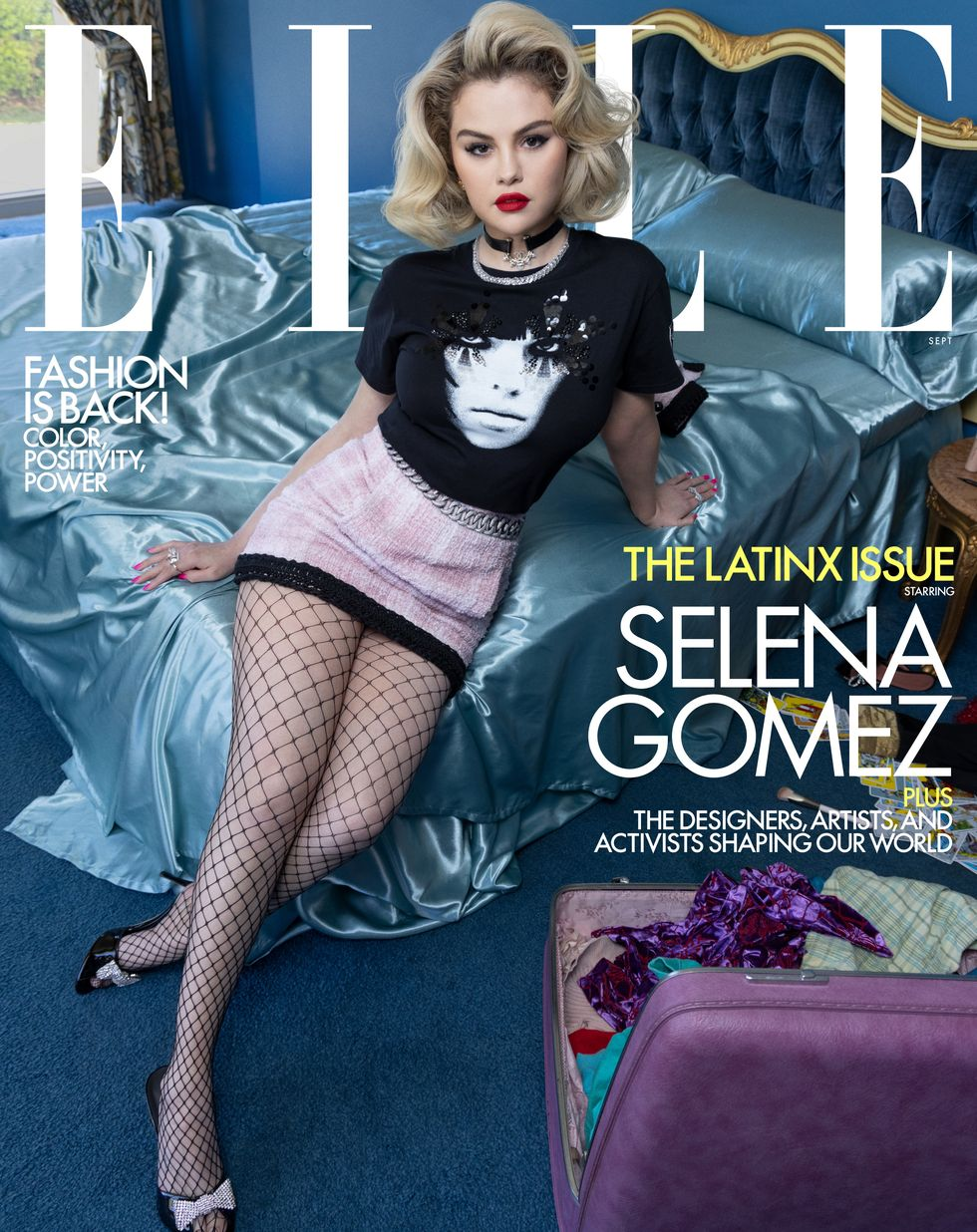 where to get Selena Gomez Elle September 2021 pink tweed skirt and black graphic t-shirt where to get Selena Gomez Elle September 2021 pink tweed skirt and black graphic t-shirt Photo INEZ & VINOODH